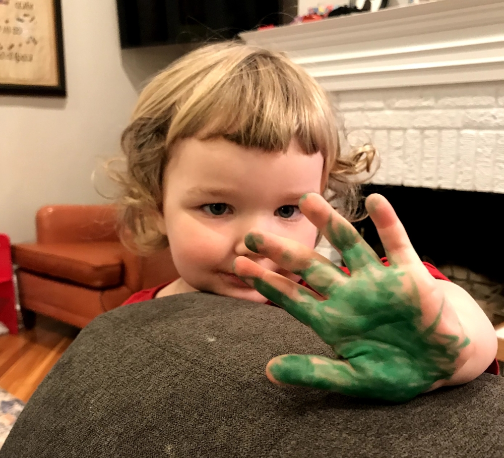 Child with pain on their hands.